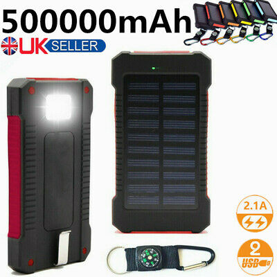 Solar Power Bank 500000mAh 2USB Waterproof External Battery Charger UK 2019
