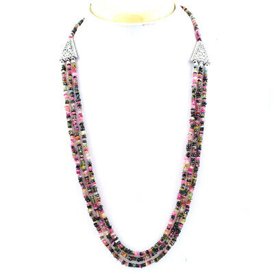 170.00 Cts Natural Watermelon Tourmaline Untreated Beads Necklace NK 32E114