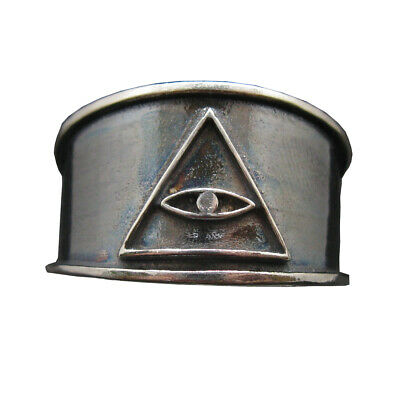Sterling Silver Ring Band Eye In Pyramid Solid Genuine Hallmarked 925 Illuminati
