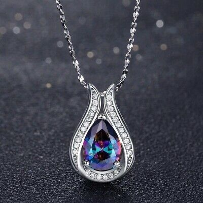 Women 925 Silver Mystic Rainbow Topaz Necklace Pendant with Chain Wedding Party