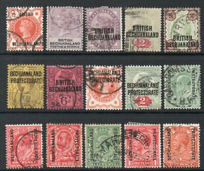 Bechuanaland  Mainly Q V Fifteen Different Used Stamps