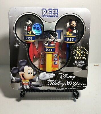 Pez Disney Mickey Mouse 80th Anniversary Commemmorative Set in Tin Box 2007