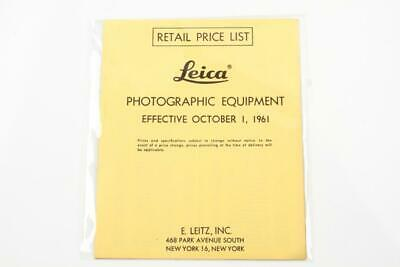 Leica Camera Photographic Equipment Retail Price List from 1961 Mint
