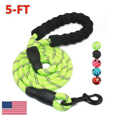 5FT Reflective Threads Strong Dog Leash Lead Rope Training Padded Handle Nylon