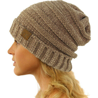 CC Winter Trendy Warm Oversized Baggy Stretchy Slouchy Beanie Hat Chenille Taupe