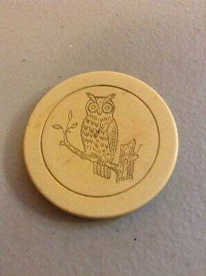 Vintage Antique Early Owl Club Poker Casino Gambling Clay Chips