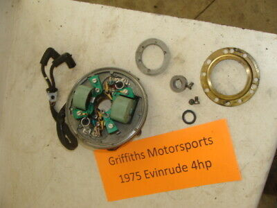 1975 EVINRUDE outboard 4hp boat motor points ignition coil plate stator advance