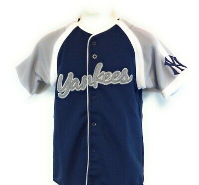 Boys Kids Youth Stitches New York NY Yankees Blue Silver Stitched MLB Jersey