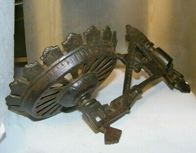 "vintage cast iron wall oil lamp holder both parts 4"" bowl wide bracket"