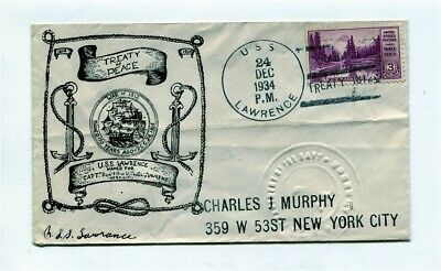 US Naval Ship Cover - USS LAWRENCE - 1934