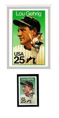 Lou Gehrig Baseball Card & New Stamp From Usps Legends Set From 1989--Mint