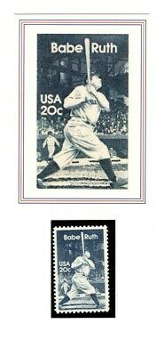 Babe Ruth Baseball Card & Stamp From 1989 Usps Legends Set ---Mint---