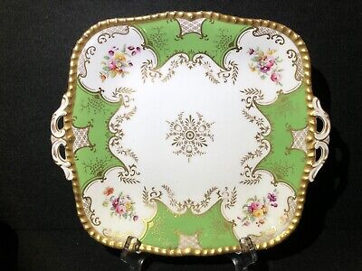 Coalport Antique, Y2480 Batwing (Green) Cake Plate or Serving Plate