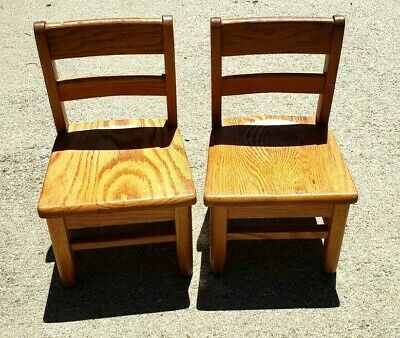 Two Vintage Solid Oak Childs Primary School Classroom Library Chairs Seat Church