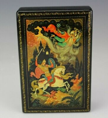 Russian Black Red Lacquered Painted Folk Lore Fairy Tale Jewelry Trinket Box JEF