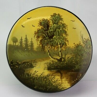Russian Red Black Lacquered Handpainted Forest Landscape Trinket Jewelry Box JEF