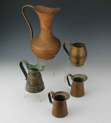 Large Antique Hand Hammered Copper Water Pitcher & 4 Small Primitive Measure Cup