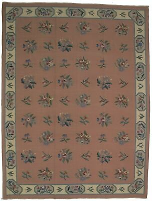 Kilim Needlepoint Hand-Hooked Floral 9X12 Chinese Oriental Rug Home Décor Carpet