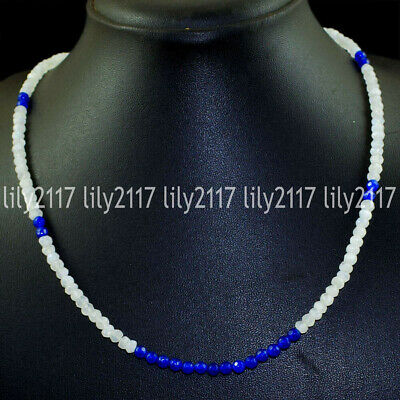 Natural Faceted White Jade &Round 4mm Blue Sapphire Gemstone Beads Necklace 18''