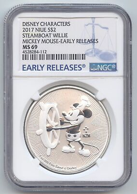 Niue,2017 $2,1 Oz 999 Silver,Mickey Mouse,Steamboat Willie,Disney,NGC MS-69 ER
