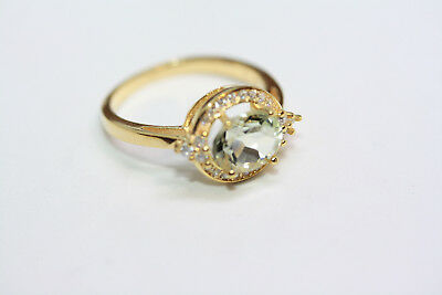 New Women's 925 Sterling Silver Genuine 1.86 CT Natural Green Amethyst Ring Sz 7