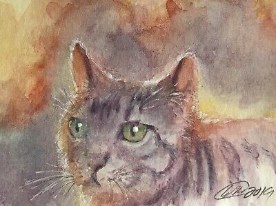 ACEO painting Original kitten Cat tabby Sunset art Originals direct from artist