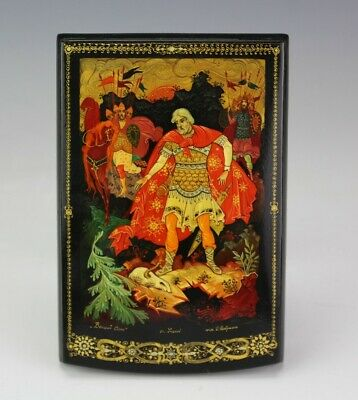 Russian Black Red Lacquered Painted Folk Lore Fairy Tale Jewelry Storage Box JEF