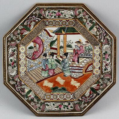 99839009 Octagonal Plate China 20. Jh Porcelain Hand Painted Temple Scene