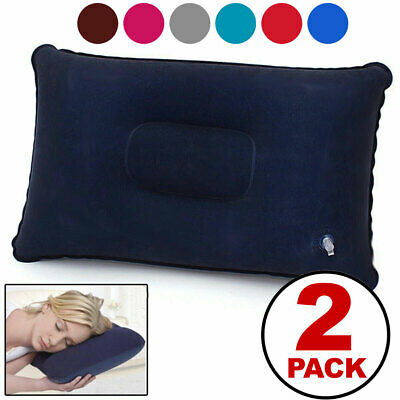 2-PACK Inflatable Lightweight Airplane Pillow Cushion Travel Hiking Camping