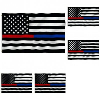 5-Pack Thin Blue Line American Flag 3x5 Police Firefighter Red Support Flag
