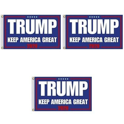 3-Pack Trump 2020 Re-Election Flag 3x5 Keep America Great 2020 Donald President