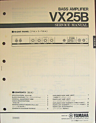 yamaha vx25b bass guitar amplifier original service manual schematics parts  list