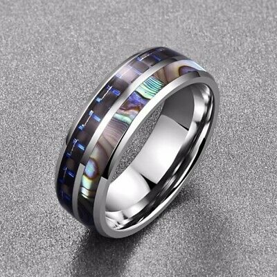 8MM Carbide & Abalone Shell Inlay Ring Men's Titanium steel Wedding Band Jewelry