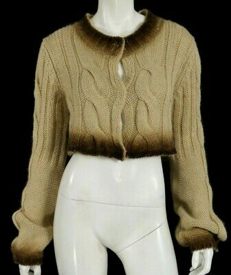 SPORTMAX Sand Beige Wool Blend Ombre Cropped Cable Knit Cardigan Sweater L