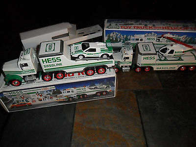 2 LOT 1995 Hess Gasoline Toy Truck & Helicopter in box & Truck & Racer Friction