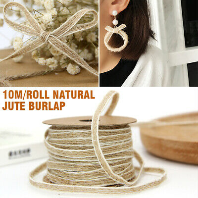 10M Roll Natural Jute Burlap Hessian Rustic Ribbon Lace Trims Tape Wedding Decor