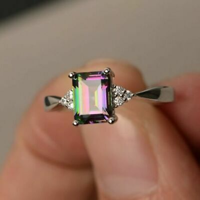 Fashion 925 Silver Mystic Topaz Gem Wedding Engagement Ring Jewelry Wholesale