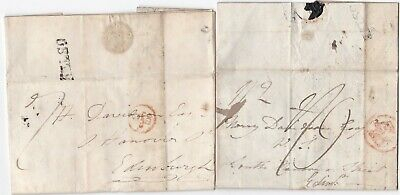 1806/07 2 x KELSO PMK LETTERS ROB & MISS M PRINGLE - HORSE RACING - RENTS >EDINB