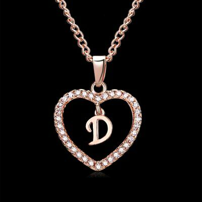 Fashion Initial 26 Letters D Alphabet Heart Crystal Pendant Necklace Jewellery