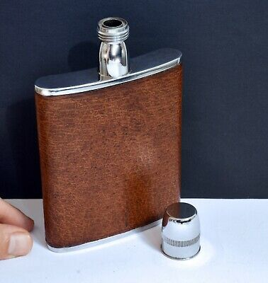 Unusual Vintage Long Necked Leather Hip Flask. 6oz - Made in England. Breweriana