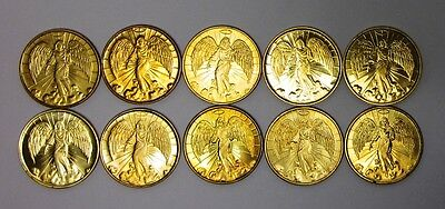Lot Of 10 Circulated Gold-tone Guardian Angel Pocket Tokens