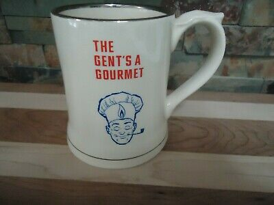 Vintage Beer Stein-The Gents A Gourmet-Bbq-Wade-Pipe-Porcelain-Detailed