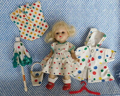 Ginny Doll,  Strung, + Cute Polka Dot Outfit.  1950 Vintage Vogue