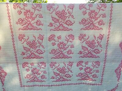 """Vintage Pink Floral Cross Stitch Quilt- Hand Embroidered- Hand Quilted- 80""""×94"""""""