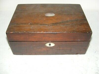 VICTORIAN 19th C ROSEWOOD WORK BOX JEWELLERY HINGED LID MOP RESTORE INNER TRAY