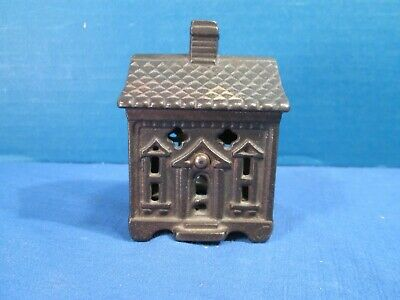 Vintage Still Bank - Cast Iron House - Small Penny Bank