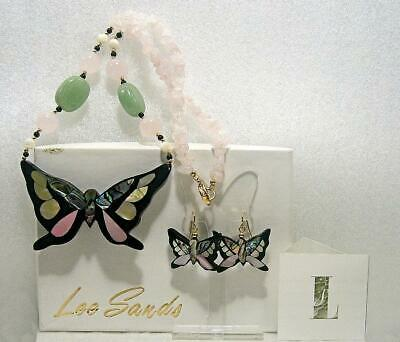 Lee Sands Retired Abalone Mother Of Pearl Butterfly Set In Original Box Sb4549