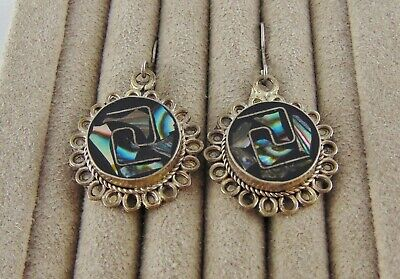 Vintage Mexico Abalone Shell Earrings New 925 Hooks Alpaca Silver Marked Guc