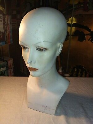 "16"" Vintage 1970s Female Mannequin Head Bust Form Wig Hat Jewelry Display"
