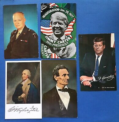 President Postcards - Lot of 9 - Eisenhower, Carter, Kennedy, Reagan, Lincoln